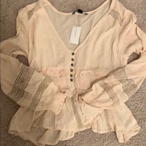 Beautiful spring Henley lace blouse